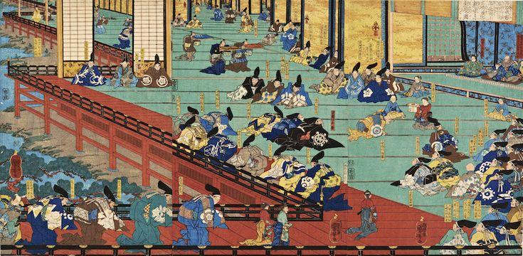 Utagawa Kuniyoshi (1797-1861) Minamoto no Yoshitsune's First Visit to Fujiwara's Hidehira, 1842 - 43