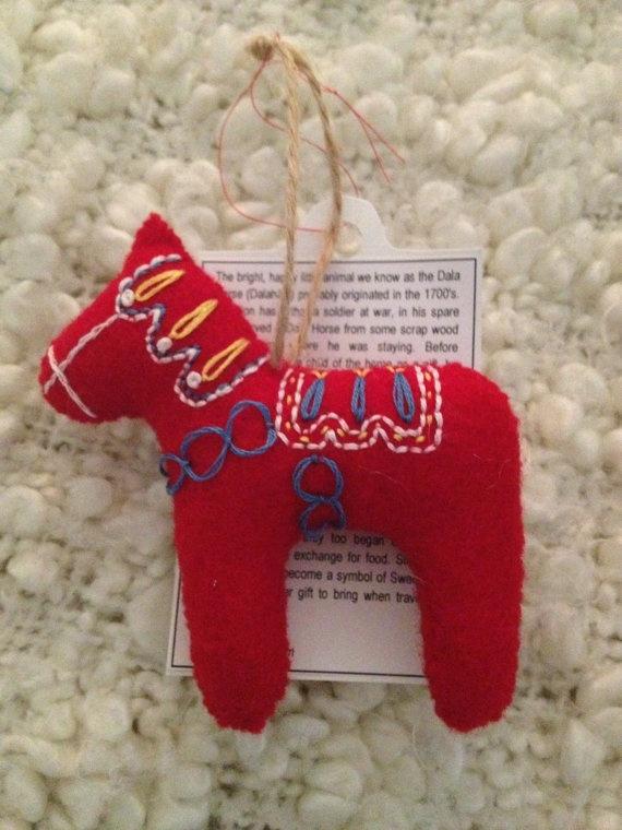 Dala Horse Dala Häst Christmas Tree Ornament by elinslittleworld, $10.00