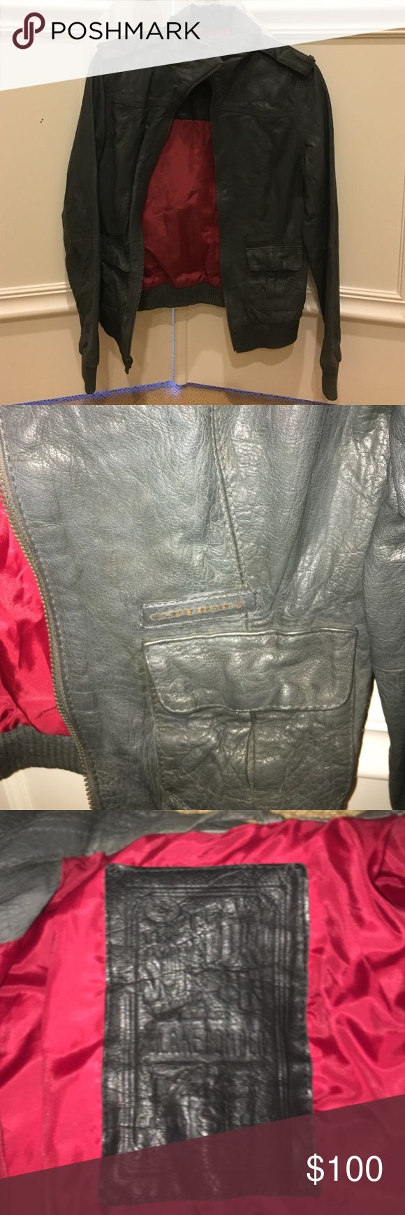 SuperDry Grey Leather Blake Bomber SuperDry Grey Leather Blake Bomber. Grey leather bomber jacket is size small. Grey leather with red lining. In very good condition.  Please ask any questions. Open to offers. No trades. Superdry Jackets & Coats