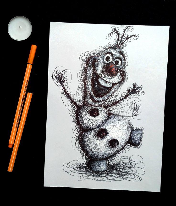Olaf! - Ilustración de estilo garabato basada en el personaje de Frozen. Original firmado. de DrawingsByPatricia en Etsy