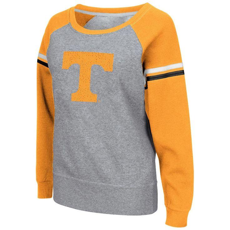 Women's Colosseum Gray Tennessee Volunteers Aurora Boatneck Raglan Fleece Sweatshirt