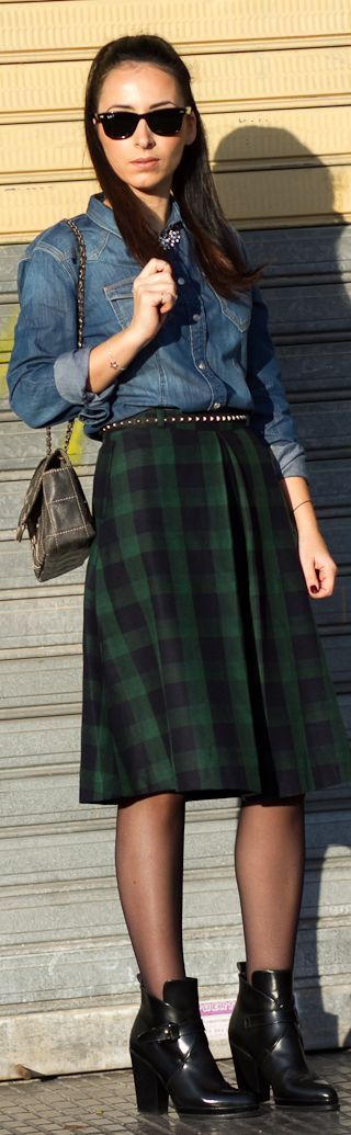 Meltin' Pot Denim Shirt And Checked Midi Skirt  by With Or Without Shoes