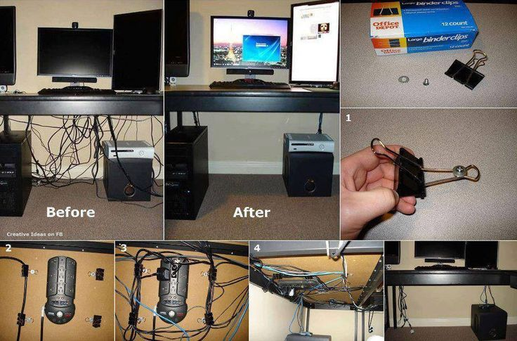 Hide Your Cords On A Glass Office Desk Using Binder Clips