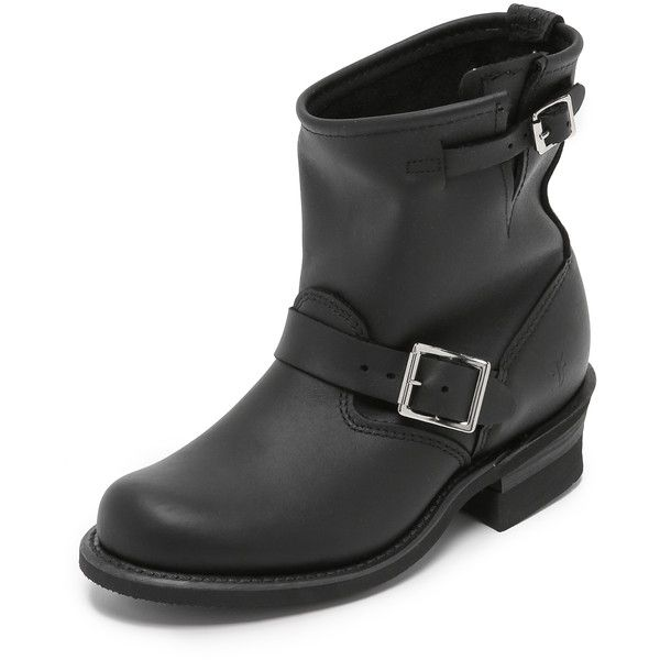 Frye Engineer 8R Boot (365 CAD) ❤ liked on Polyvore featuring shoes, boots, ankle booties, black, leather biker boots, black biker boots, leather boots, black moto boots and biker boots