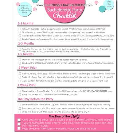 Free Bachelorette Party Checklist printable!