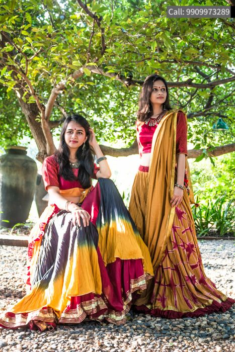 Best Design  Yellow And Red  Cotton And Printed Elbow Sleeve Lehenga #NavratriStyle