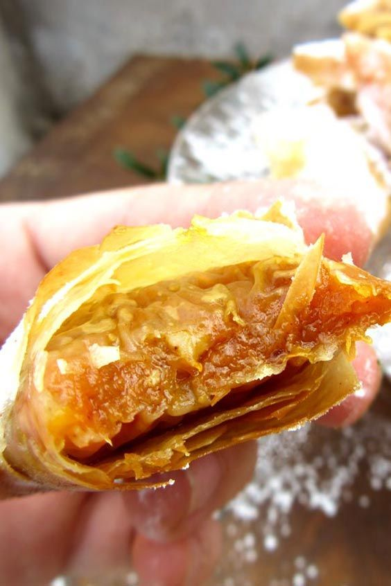 Phyllo pastry Greek pumpkin pies. Crispy, melt-in-your-mouth, wintry flavored mini pumpkin pies. The best ever!
