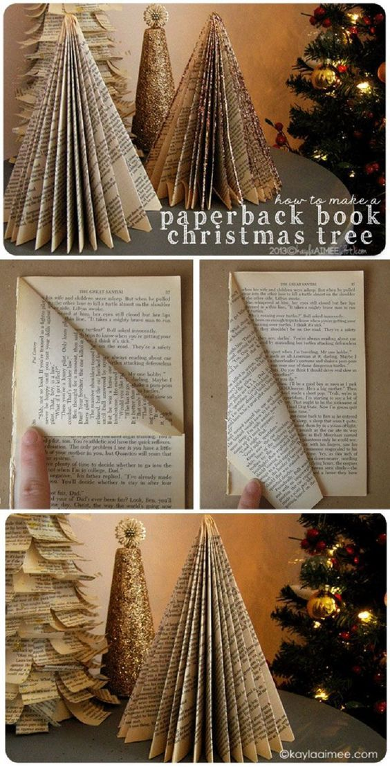 """Christmas Tree from a Paperback Book>>> im on the verge of """"THAT IS A BOOK!!:0"""" and """"oooh! Pretty!"""""""