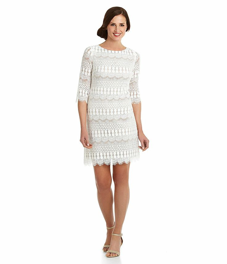 Jessica howard scalloped lace shift dress for Dillards plus size wedding guest dresses