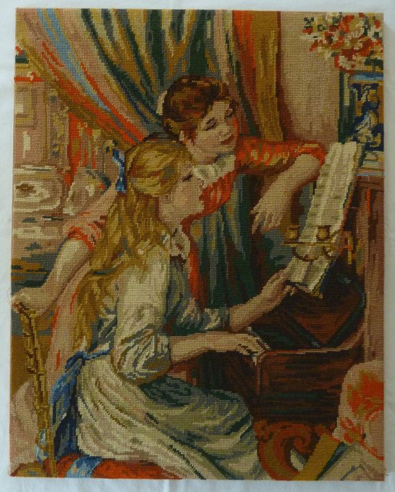 Vintage Finished Needlepoint - Girls at the Piano by Pierre Auguste Renoir - Handmade Wall Hanging Home Decor
