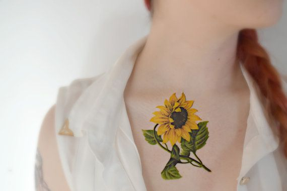 Large temporary tattoo vintage flower spring for Sunflower temporary tattoo