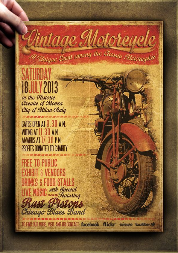 vintage motorcycle flyer poster template vol 1 on behance flyer