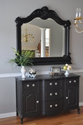 Black Painted Mirror Over Black Painted Dresser Turned Buffet