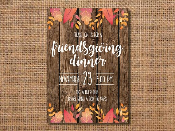 Friendsgiving Invitation, Thanksgiving Invitation, Friendsgiving Party Invitation, Friendsgiving Invite, Potluck Invitation, Digital File  Friendsgiving printable invitation. This invitation is perfect for inviting your friends to dinner. You will be emailed a high resolution file that is 5x7 and in jpeg form (unless otherwise specified). With the file youll be able to print or email the invitation to send to your guests. You could print it from your home printer or through a professional…
