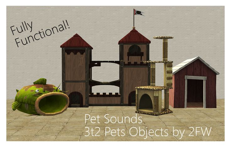 """twofingerswhiskey: """"  Pet Sounds - 3t2 Pets Objects  Here are four 3t2 objects from The Sims 3: Pets EP. They are all fully functional and feature all of the original recolours! You obviously need the..."""
