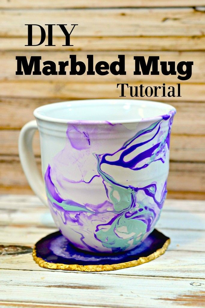 DIY Marbled Mug Tutorial - what a beautiful art craft for teens / tweens and handmade holiday gifts! PLUS a link to easily make your own stunning gold-rimmed agate coaster set - LOVE this gift idea!
