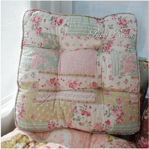 Elegant Shabby And Vintage Patchwork Like Soft Chair Pad W Filling 122