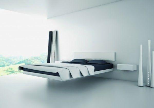Lits flottants donnent la chambre un look moderne