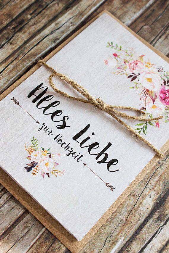 Gluckwunschkarte Zur Hochzeit Vintage Blumen Hochzeitskarten