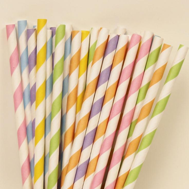 Pastel Rainbow Assorted Paper Straws, via Etsy.