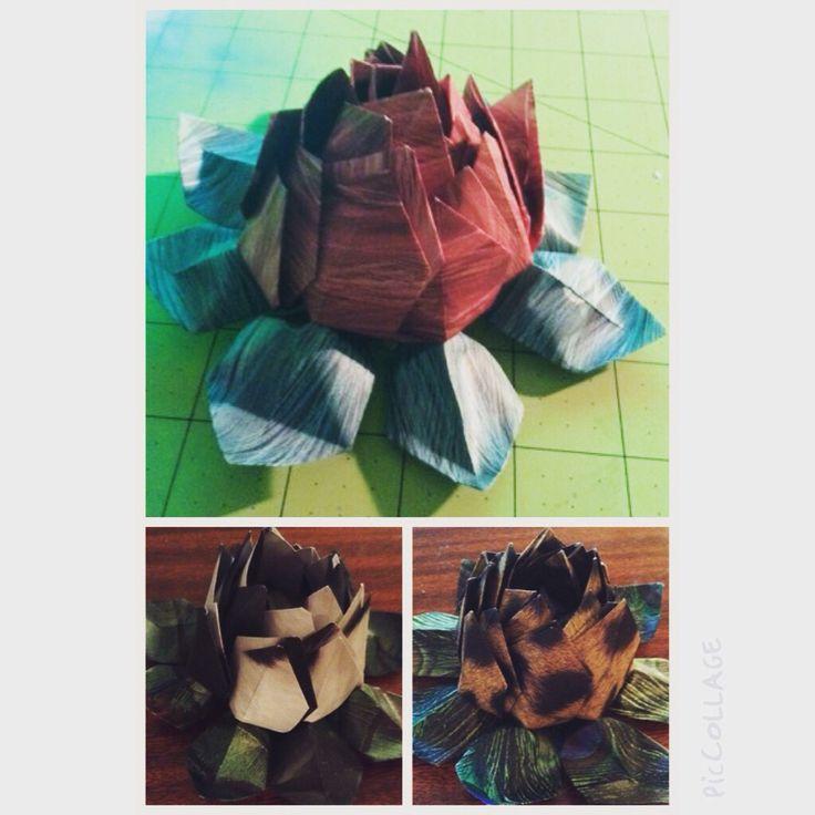 I made modular origami lotus flowers.