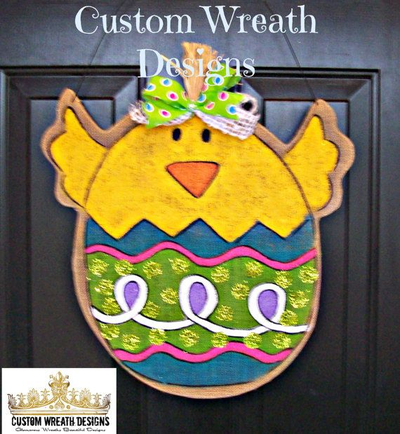 Burlap Easter Chick Door Hanging by lilmaddydesigns on Etsy, $35.00