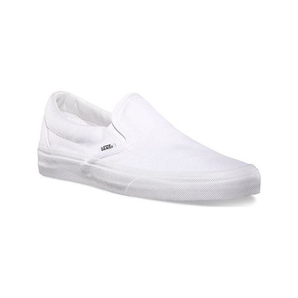 Vans Classic Slip-On ($50) ❤ liked on Polyvore featuring shoes, sneakers, casual footwear, casual shoes, white, slip on shoes, summer sneakers, white slip on shoes, white lace up sneakers and vans sneakers