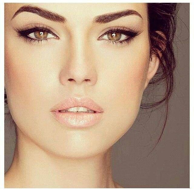 Think we'll go with a clean and glowy look. Bold brows and pink lips.