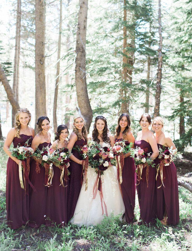 Fall wedding inspiration! Maroon bridesmaids in Long Wine Lace and Mesh David's Bridal Bridesmaid Dresses | Katie Shuler Photography via Green Wedding Shoes