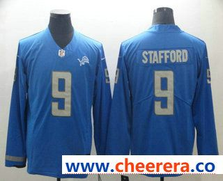 Men s Detroit Lions  9 Matthew Stafford Light Blue Therma Long Sleeve  Limited Jersey 2afba5d21