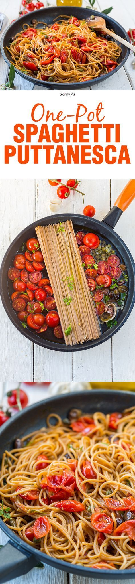 One Pot Spaghetti Puttanesca! Sure to become a great family favorite. #SkinnyMs