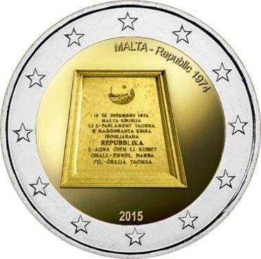 """Moneta Celebrativa """"Repubblica 1974"""" Anno: 2015 Stato: Malta"""