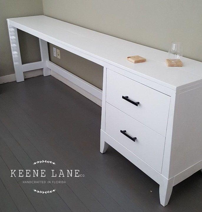 Custom Long White Desk With Two Drawers 8 Long Desk White