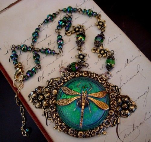 Victorian-style dragonfly and czech glass reproduction.