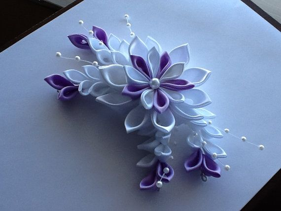 White & Lavender Kanzashi Flower Hair by LihiniCreations