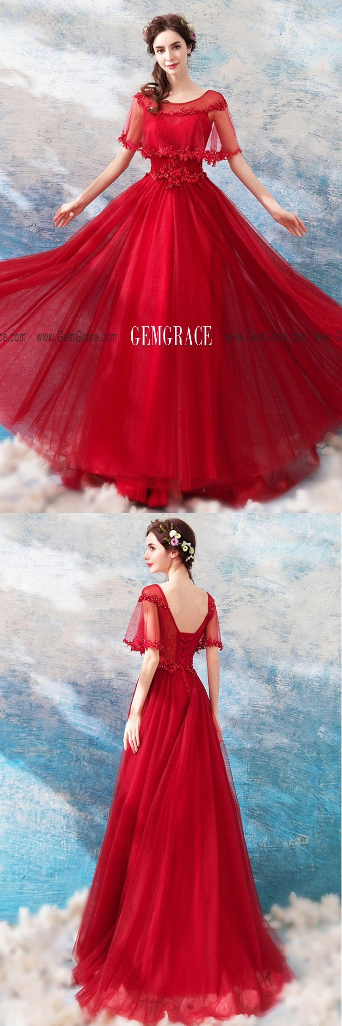 Long Red A Line Elegant Tulle Wedding Party Dress With ...