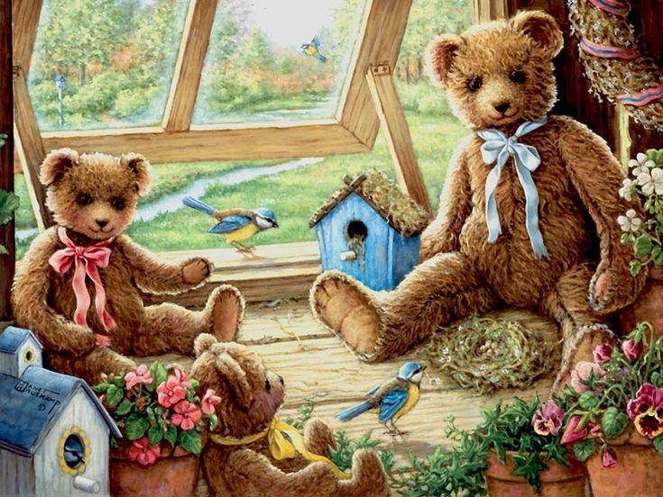 Garden House Tenants, a painting of three teddy bears next to the opened garden house window, surrounded by flowers, bird houses and bird's ...