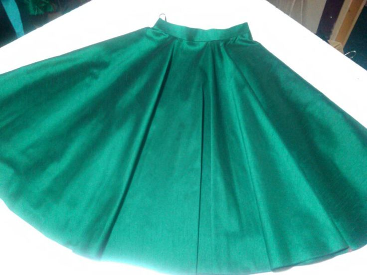 Green silk skirt with pockets by Geraldine O'Meara Designs AW/2015