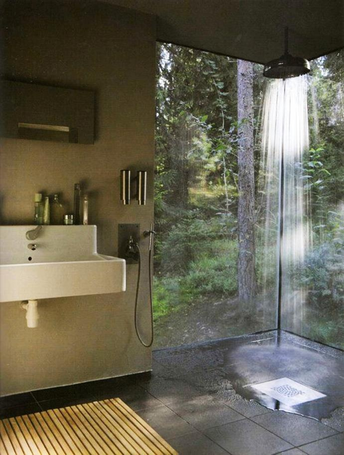Home shower with glass walls i love this idea of being in nature oh to take a shower in this - Types of showers for your home ...