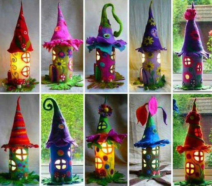TOILET PAPER TUBE FAIRY HOUSES...decorated with Felt!   http://thewhoot.com.au/whoot-news/crafty-corner/paper-roll-fairy-houses
