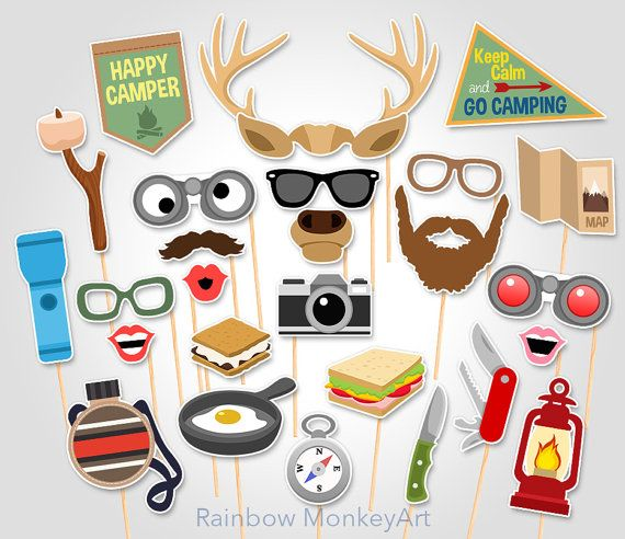 Camping Printable Photo Booth Props Camping by RainbowMonkeyArt
