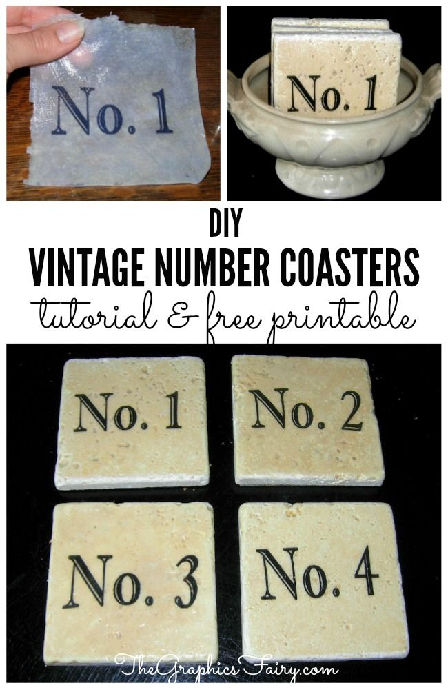 Omni Gel Transfer Craft Project - Vintage Number Coasters  //  The Graphics Fairy