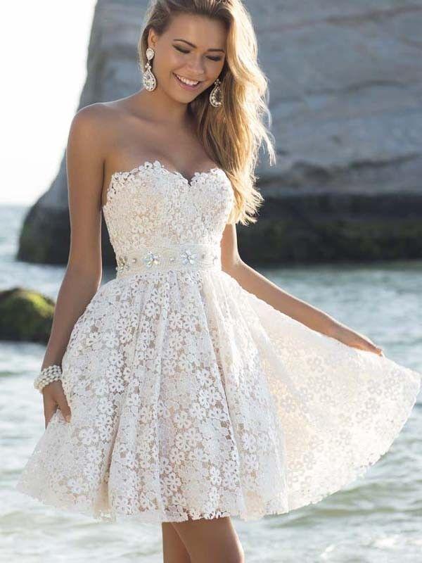 98c0cab790 A-Line Princess Lace Sweetheart Sleeveless Rhinestone Short Mini Dresses