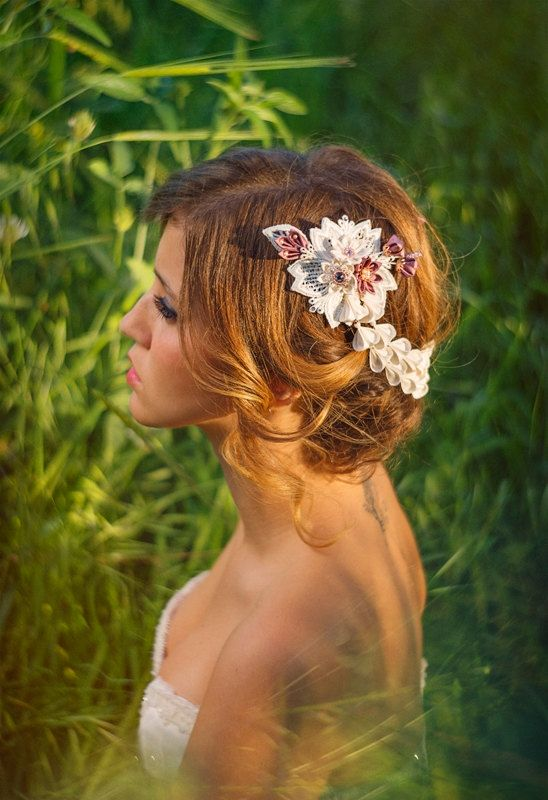 Chloris Ivory & Wisteria Bridal Headpiece Silk by PetiteLumiereCo
