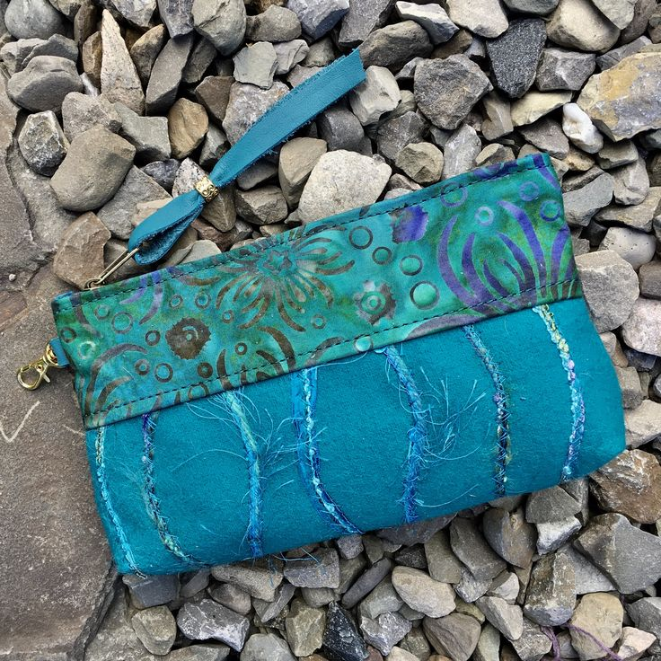 Clutch makeup phone bag pouch purse organizer wallet evening bag glasses caseTurquoise Felted Wool Batik Fiber Art Unique gift for her by SkyPathDesign on Etsy