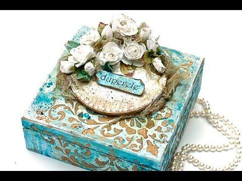MixMedia kwiatowe pudełko - DIY tutorial - YouTube