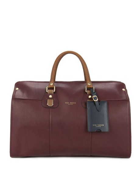 KIMYAY   Leather holdall bag - Oxblood   Bags   Ted Baker