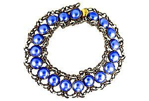 Norwegian 925S Sterling Silver Blue Enamel Bracelet (Image1)