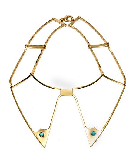 TURQUOISE AND GOLD NECKLACE-Col necklace in gold tone metal with a rigid double/pointed section on front and set turquoise stones. Spring hook closure.