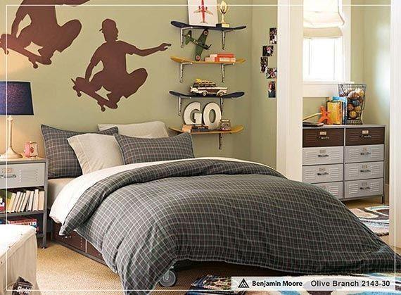 10 inspirational pictures for teen boys bedroom design for Boys skateboard bedroom ideas